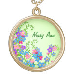 Customizable Forget Me Nots Floral Necklace