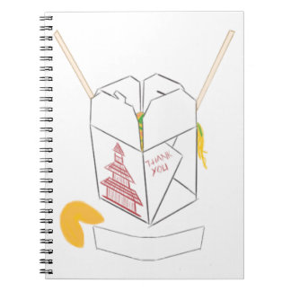 Customizable Fortune Cookie w/ Chinese Takeout Box Spiral Notebook