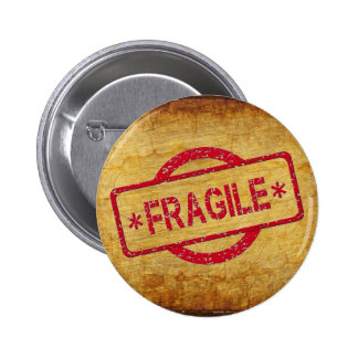 Customizable Fragile Stamp on Vintage paper 2 Inch Round Button