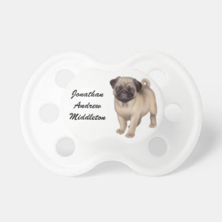 Customizable Friendly Pug Dog Pacifier