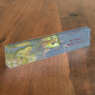 """CUSTOMIZABLE / """"FROG PEERING ABOVE WATER IN POND"""" NAMEPLATE"""