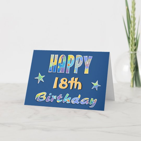 Customizable Fun Stars 18th Birthday Greeting Card