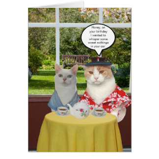 Customizable Funny Cat Birthday for Wife Card