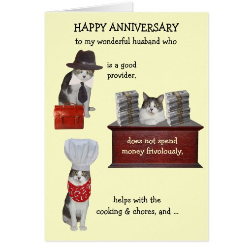 Customizable Funny Cat Husband Anniversary Greeting Cards