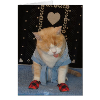 Customizable Funny Cat in Bathrobe Get Well Card