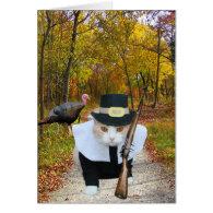 Customizable Funny Cat/Kitty Pilgrim Card