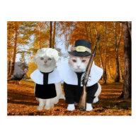 Customizable Funny Cat/Kitty Pilgrims Postcard
