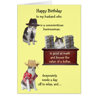 Customizable Funny Cat Male Birthday Card