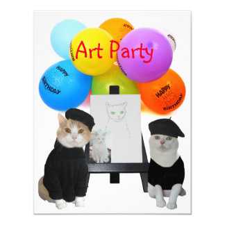 Customizable Funny Cats Art Party Invitation
