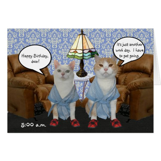 Customizable Funny Cats Husband Birthday Card