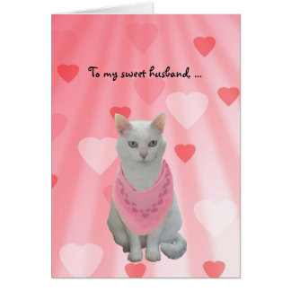 Customizable Funny Cats Valentine for Husband Greeting Card