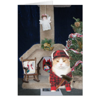 Customizable Funny Christmas Cat Condo Card