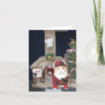 Customizable Funny Christmas Cat Condo Holiday Card