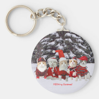 Customizable Funny Christmas Cats Basic Round Button Keychain