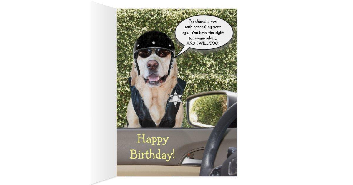 Customizable Funny Dog Motorcycle Cop Birthday Card Zazzle