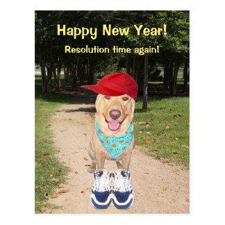 Customizable Funny Dog New Year Resolution Postcard