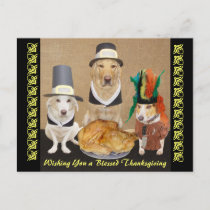 Customizable Funny Dogs Happy Thanksgiving Holiday Postcard