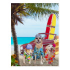 Customizable Funny Dogs/Labs on the Beach Postcard
