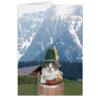 Customizable Funny German Cat/Kitty Greeting Card
