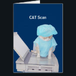 """Customizable Funny Get Well Card<br><div class=""""desc"""">Bubba in a hospital gown getting scanned.  Though he would literally be getting a picture of his big rear rather than Computerized Axial Tomography,  hopefully it would make a friend in the hospital laugh. You can change the background color and customize all of the text.</div>"""