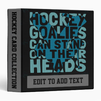 Customizable Funny Hockey Goalie 3 Ring Binder