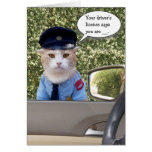 Customizable Funny Officer Cat Birthday Greeting Card
