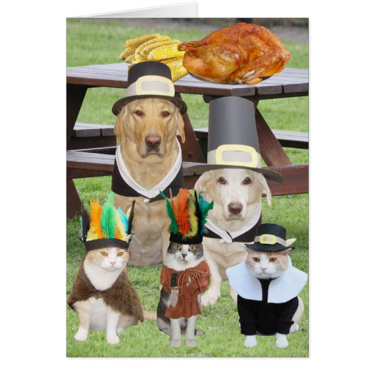 Customizable Funny Pet Thanksgiving Card