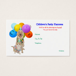 Customizable Funny Pets Children's Parties Business Card