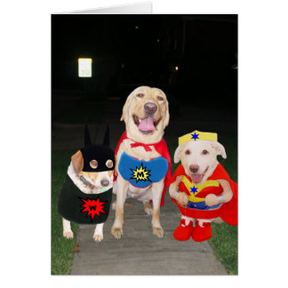 Customizable Funny Super Dogs/Lab Halloween Card