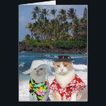 """Customizable Funny Surfer Cats/Kitties Anniversary Card<br><div class=""""desc"""">A humorous card with a Hawaiian theme that could be customized for one spouse to give the other or for a friend to give a couple. You can customize the text, change the fonts, font size and color. You could delete the background picture on the front (which is thanks to...</div>"""