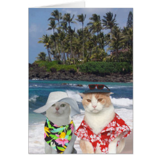 Customizable Funny Surfer Cats/Kitties Anniversary Card