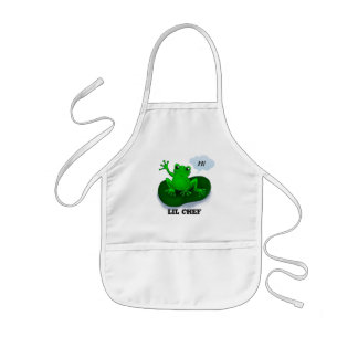 Customizable funny waving frog aprons