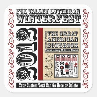 Customizable FVL Winterfest Americana 2012 Square Sticker