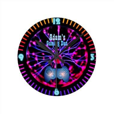 Customizable GAMING Gamers DEN Room Clock Neon