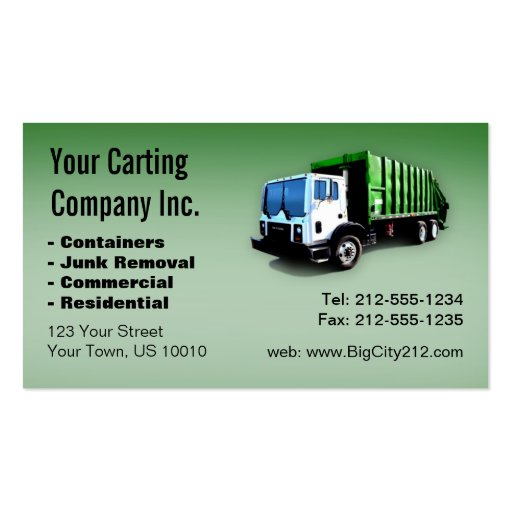 CUSTOMIZABLE Garbage Truck Carting Company Business Card