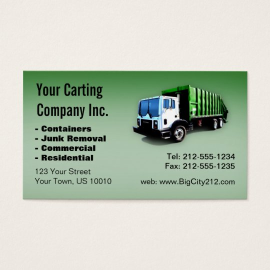 Customizable garbage truck carting company business card zazzle customizable garbage truck carting company business card colourmoves