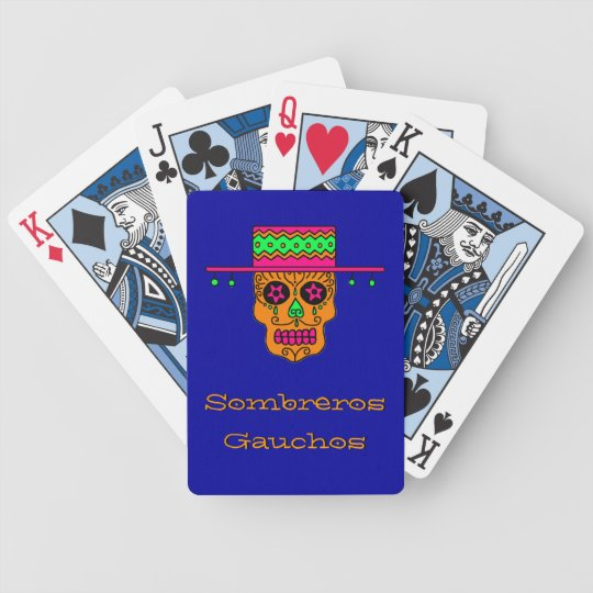 Customizable Gaucho Sugar Skull Bicycle Playing Cards