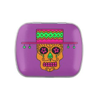 Customizable Gaucho Sugar Skulls Jelly Belly Tin
