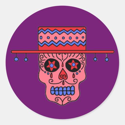 Customizable Gaucho Sugar Skulls Classic Round Sticker