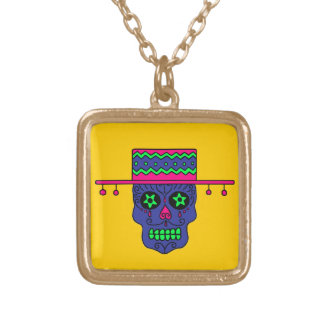 Customizable Gaucho Sugar Skulls Gold Plated Necklace