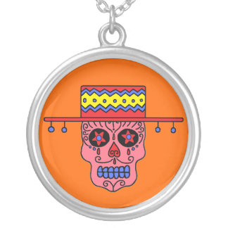 Customizable Gaucho Sugar Skulls Silver Plated Necklace