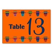 Customizable Gaucho Sugar Skulls Table Cards