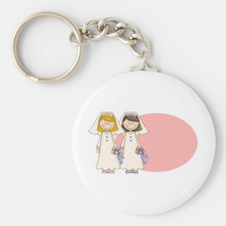 Customizable Gay Female Wedding Gifts and Tees Basic Round Button Keychain