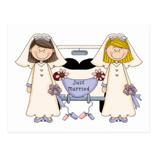 Customizable Gay Female Wedding Just Married Tees Postcard