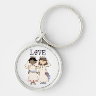Customizable Gay Female Wedding Tees, Gifts Silver-Colored Round Keychain