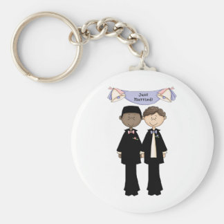 Customizable Gay Male Just Married Wedding Basic Round Button Keychain