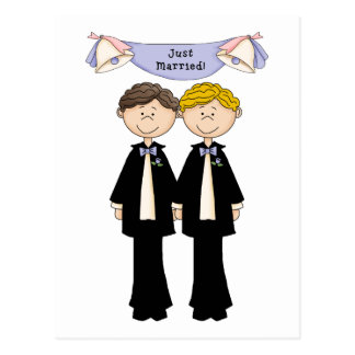 Customizable Gay Male Just Married Wedding Postcard