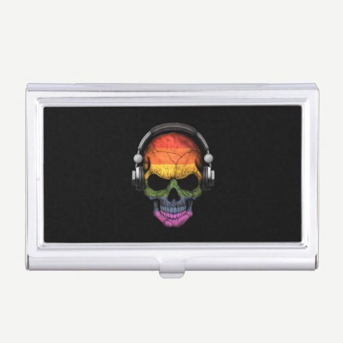 Customizable Gay Pride Rainbow Dj Skull Case For Business Cards