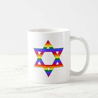 Customizable Gay Pride Rainbow Star of David Coffee Mug