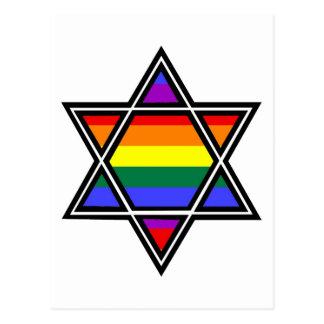 Customizable Gay Pride Rainbow Star of David Postcard